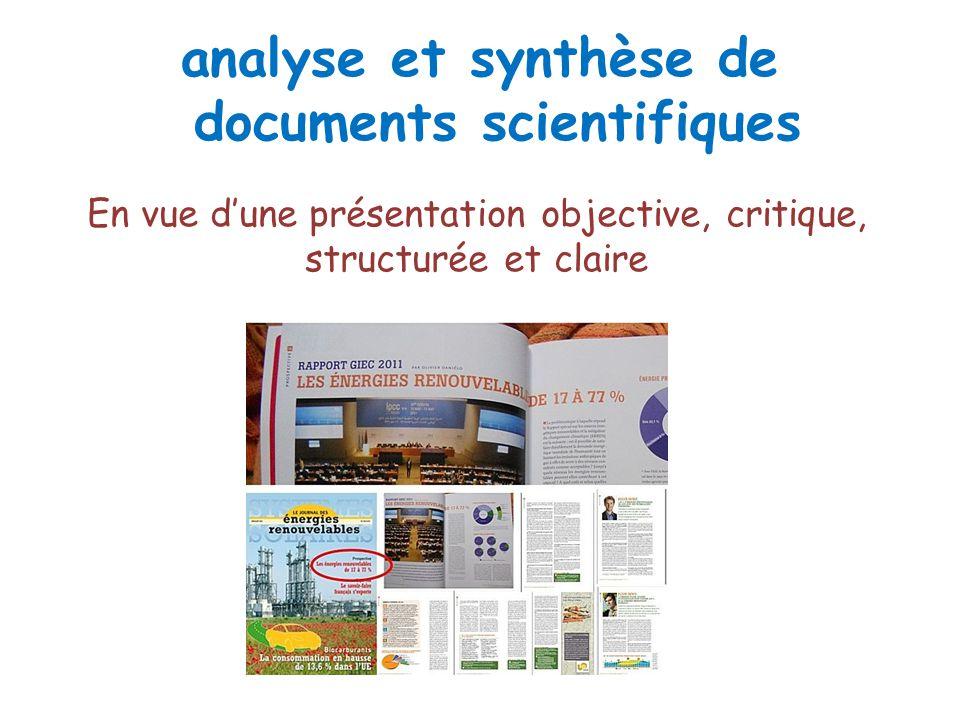 analyse et synthèse de documents scientifiques En vue dune présentation objective, critique, structurée et claire