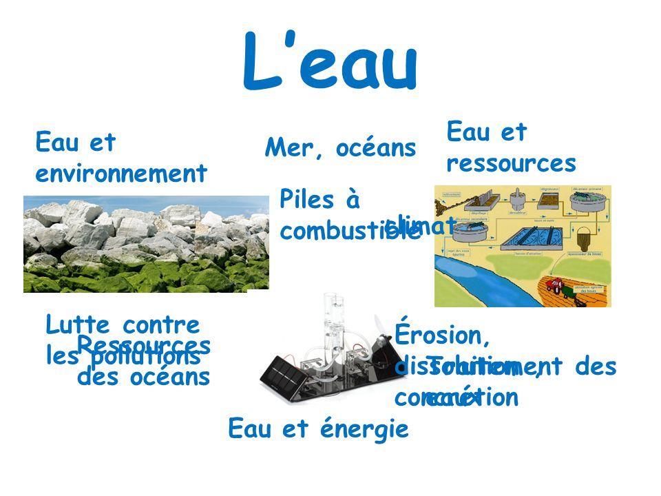 Leau Eau et environnement Eau et ressources Eau et énergie Mer, océans climat Érosion, dissolution, concrétion Lutte contre les pollutions Traitement des eaux Ressources des océans Piles à combustible