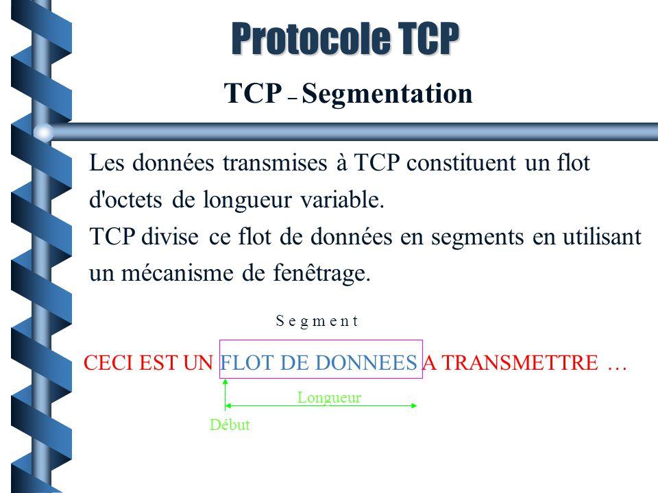 TCP – Segmentation Les données transmises à TCP constituent un flot d'octets de longueur variable. TCP divise ce flot de données en segments en utilis