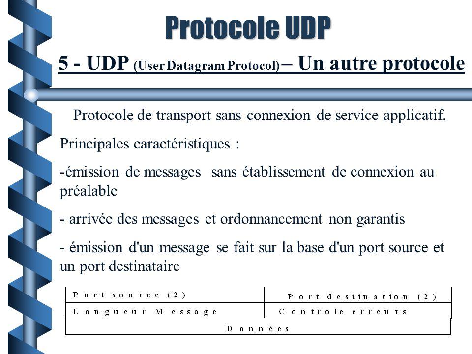 5 - UDP (User Datagram Protocol) – Un autre protocole Protocole de transport sans connexion de service applicatif. Principales caractéristiques : -émi