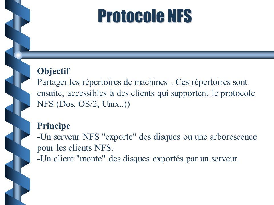 Protocole NFS Objectif Partager les répertoires de machines. Ces répertoires sont ensuite, accessibles à des clients qui supportent le protocole NFS (