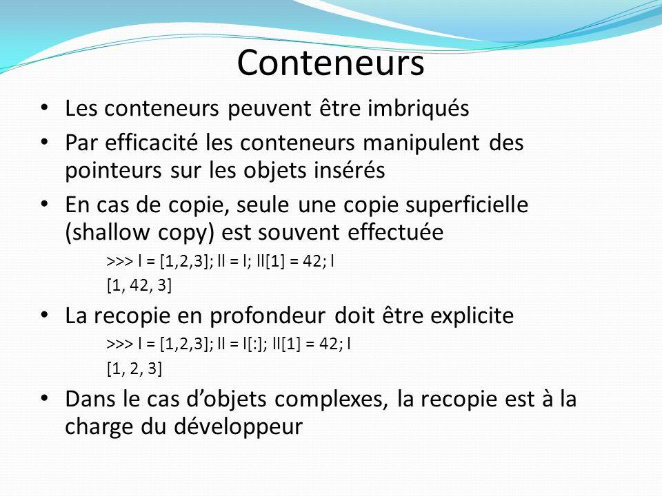 Conteneurs Les conteneurs peuvent être imbriqués Par efficacité les conteneurs manipulent des pointeurs sur les objets insérés En cas de copie, seule