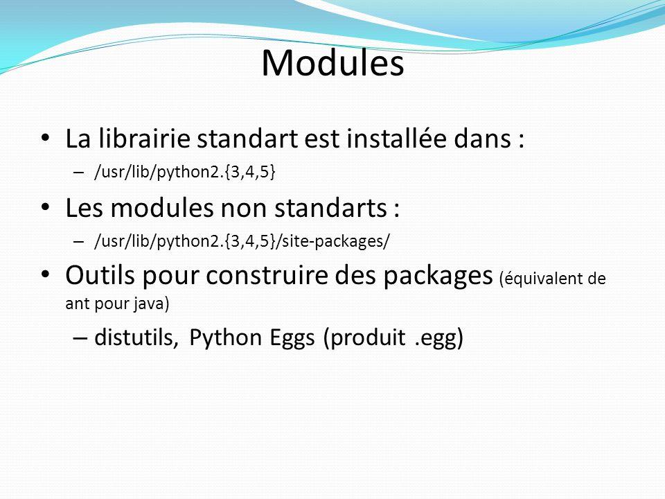 Modules La librairie standart est installée dans : – /usr/lib/python2.{3,4,5} Les modules non standarts : – /usr/lib/python2.{3,4,5}/site-packages/ Ou