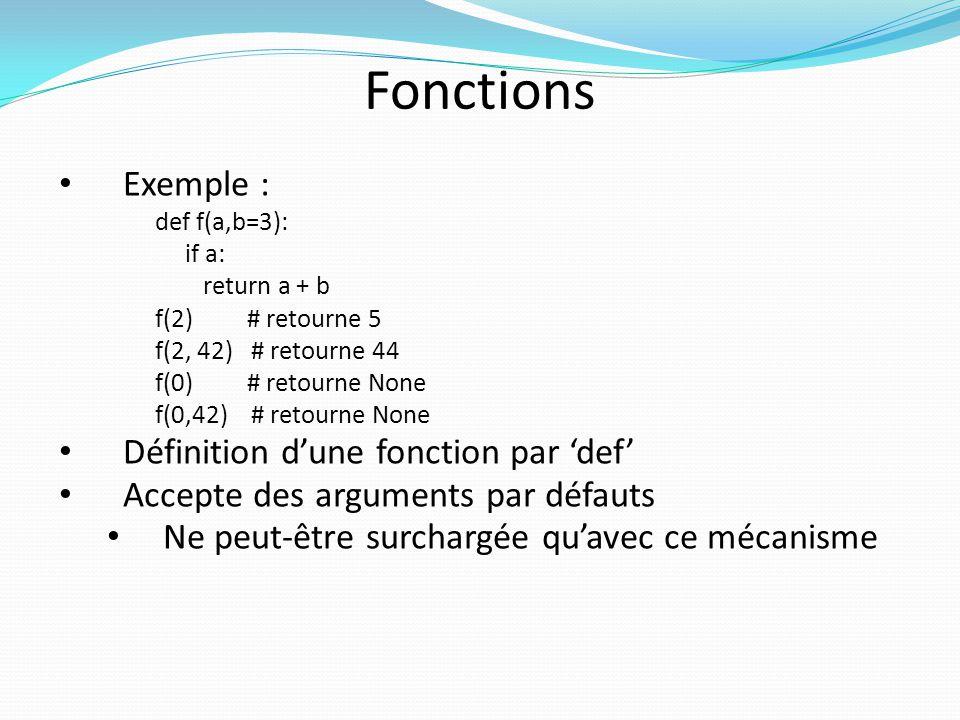 Dictionnaire Conteneur associatif Exemple >>> d = {1: 1 , 3: 3 , 2: 2 } # instancier un dictionnaire, la clef doit # être un objet constant (cest son hash # qui détermine sa valeur dindex) >>> d {1: 1 , 2: 2 , 3: 3 } >>> 1 in d # test d appartenance True >>> d[4] = 4 # insérer un élément >>> d {1: 1 , 2: 2 , 3: 3 , 4: 4 }