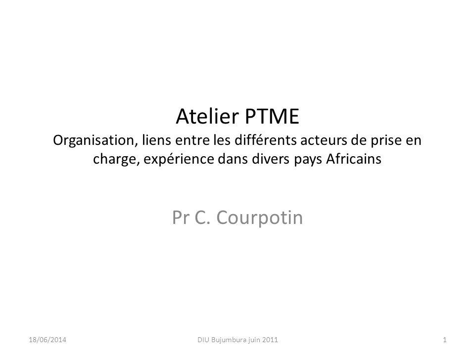 Atelier PTME Organisation, liens entre les différents acteurs de prise en charge, expérience dans divers pays Africains Pr C. Courpotin 18/06/20141DIU