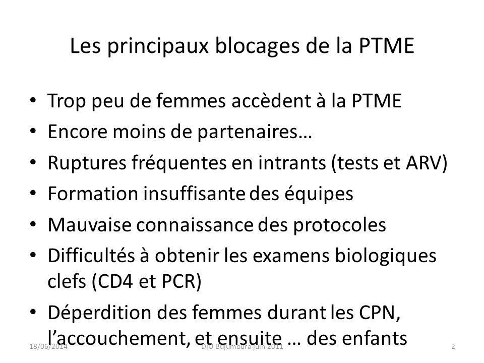 Le véritable enjeu de la PTME : la « Cascade » 100 femmes VIH + avec PTMESans PTME Vues en CPN : 92 % 928 Conseil, test et CD4 : 75 % 6832 Reçoivent des ARV 50 % 3466 Protocoles appliqués TME ARV Enfants infectésTME spontanée TME globale NVP d.u.