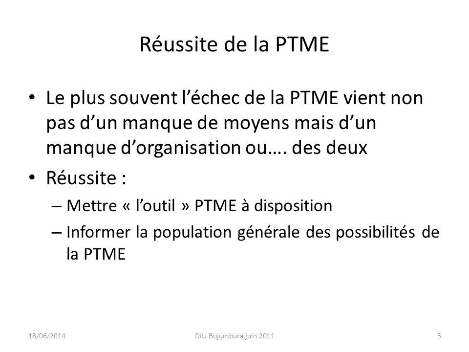 La mise à disposition de « loutil » PTME Niveau central : – Choix des sites : cartographie (unités fonctionnelles de PTME) – Choix du protocole ( et diffusion) – Financement des activités – Formation des soignants et des médiateurs – Suivi évaluation 18/06/2014DIU Bujumbura juin 20114