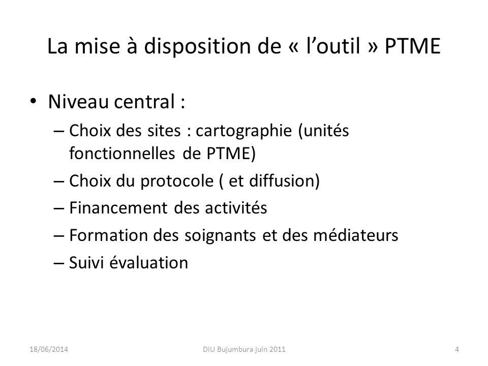 La mise à disposition de « loutil » PTME Niveau central : – Choix des sites : cartographie (unités fonctionnelles de PTME) – Choix du protocole ( et d