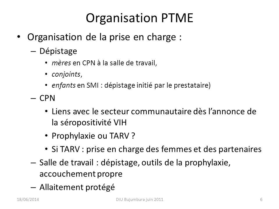 Organisation PTME Organisation de la prise en charge : – Dépistage mères en CPN à la salle de travail, conjoints, enfants en SMI : dépistage initié pa