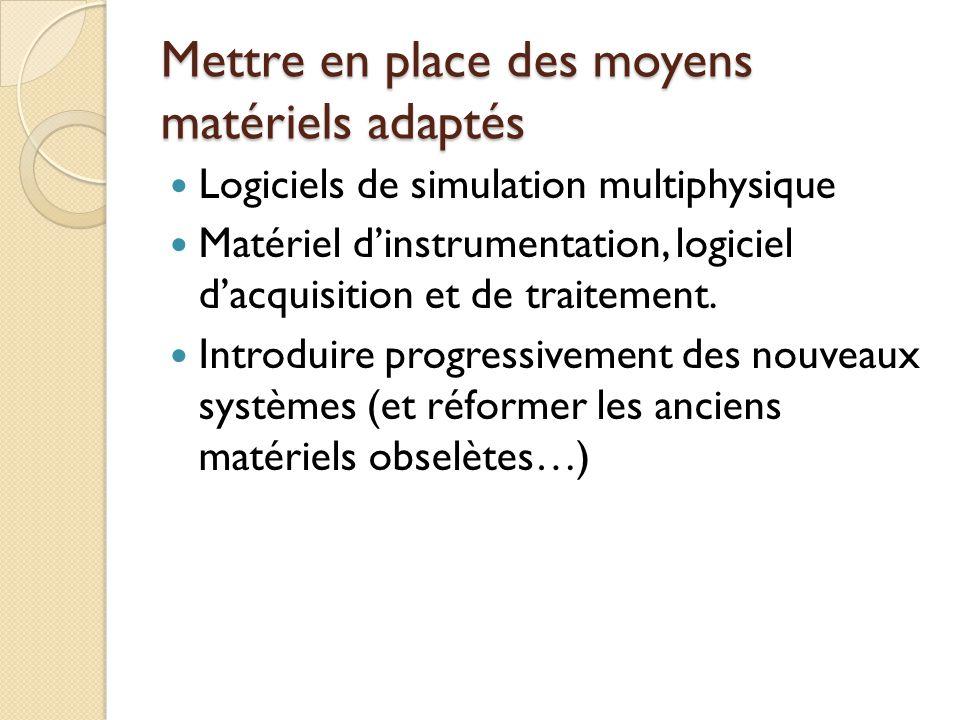 Mettre en place des moyens matériels adaptés Logiciels de simulation multiphysique Matériel dinstrumentation, logiciel dacquisition et de traitement.