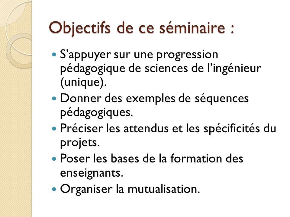 Objectifs de ce séminaire : Sappuyer sur une progression pédagogique de sciences de lingénieur (unique). Donner des exemples de séquences pédagogiques
