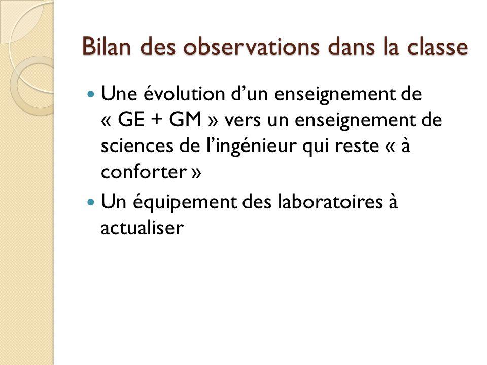 Bilan des observations dans la classe Une évolution dun enseignement de « GE + GM » vers un enseignement de sciences de lingénieur qui reste « à confo