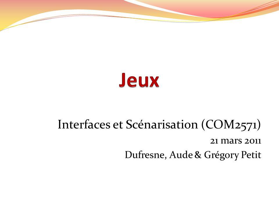 Interfaces et Scénarisation (COM2571) 21 mars 2011 Dufresne, Aude & Grégory Petit