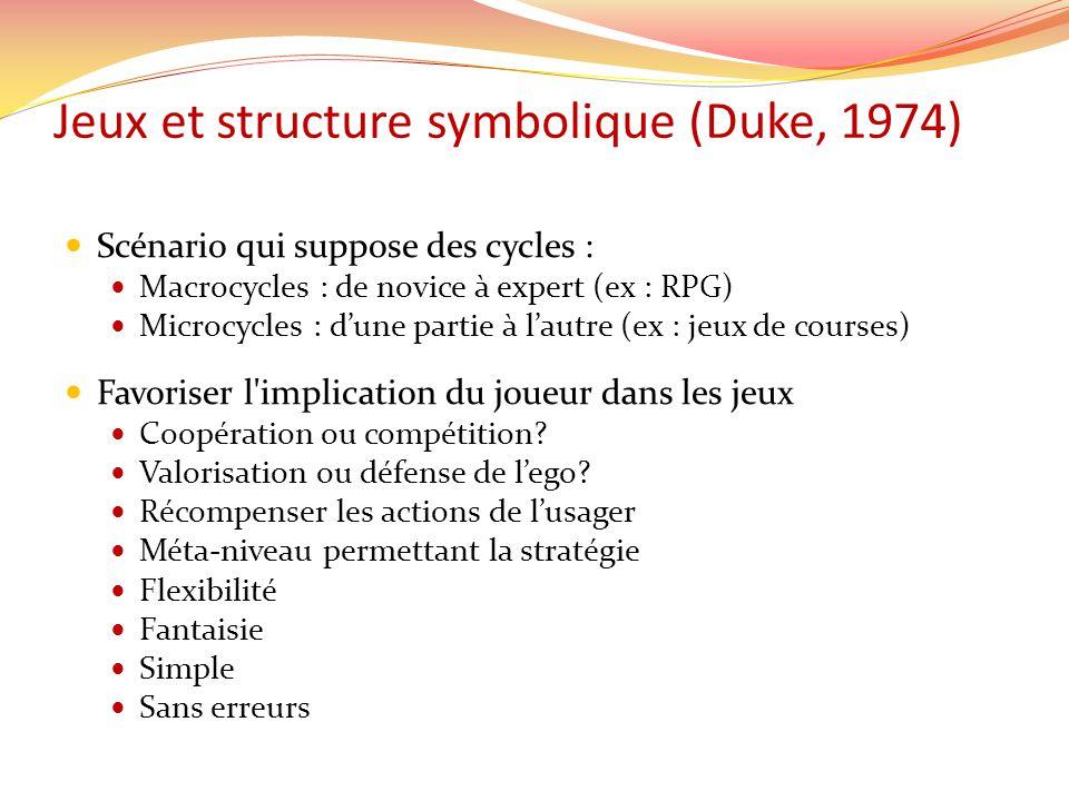 Jeux et structure symbolique (Duke, 1974) Scénario qui suppose des cycles : Macrocycles : de novice à expert (ex : RPG) Microcycles : dune partie à la