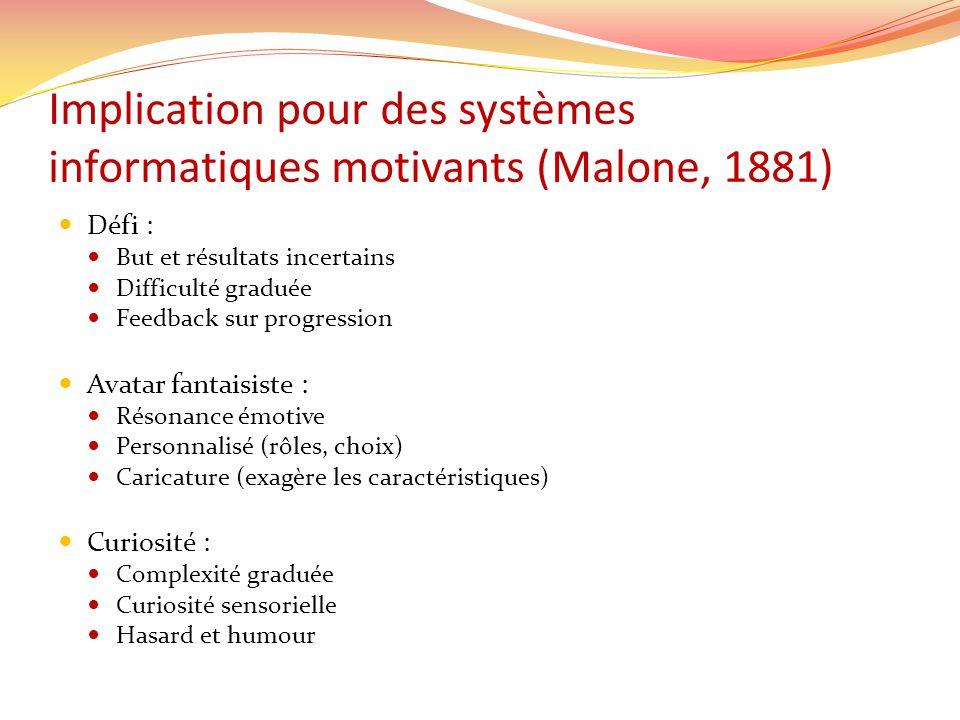 Implication pour des systèmes informatiques motivants (Malone, 1881) Défi : But et résultats incertains Difficulté graduée Feedback sur progression Av