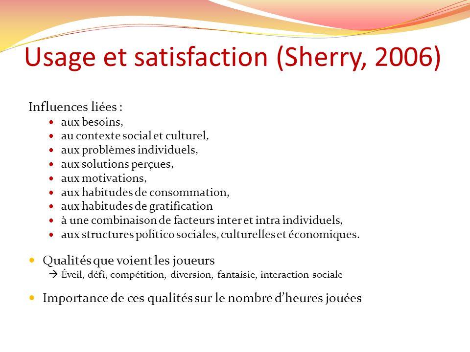 Usage et satisfaction (Sherry, 2006) Influences liées : aux besoins, au contexte social et culturel, aux problèmes individuels, aux solutions perçues,