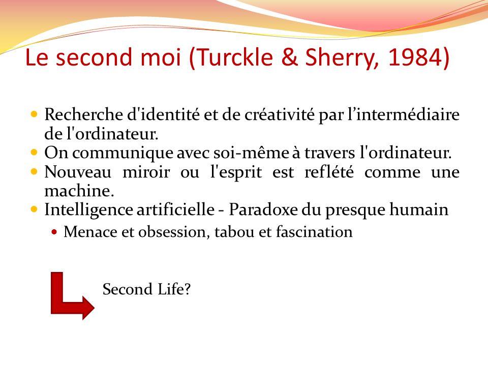 Le second moi (Turckle & Sherry, 1984) Recherche d'identité et de créativité par lintermédiaire de l'ordinateur. On communique avec soi-même à travers