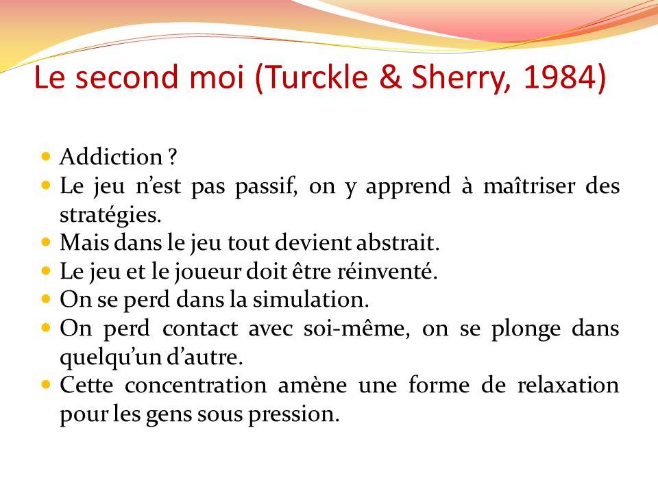 Le second moi (Turckle & Sherry, 1984) Addiction ? Le jeu nest pas passif, on y apprend à maîtriser des stratégies. Mais dans le jeu tout devient abst