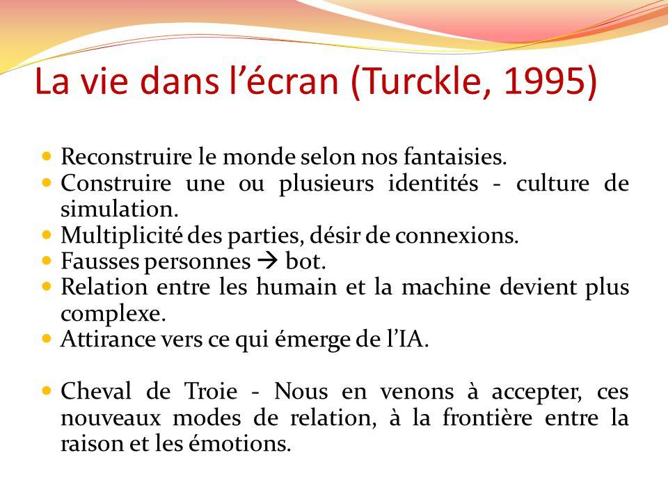 La vie dans lécran (Turckle, 1995) Reconstruire le monde selon nos fantaisies. Construire une ou plusieurs identités - culture de simulation. Multipli