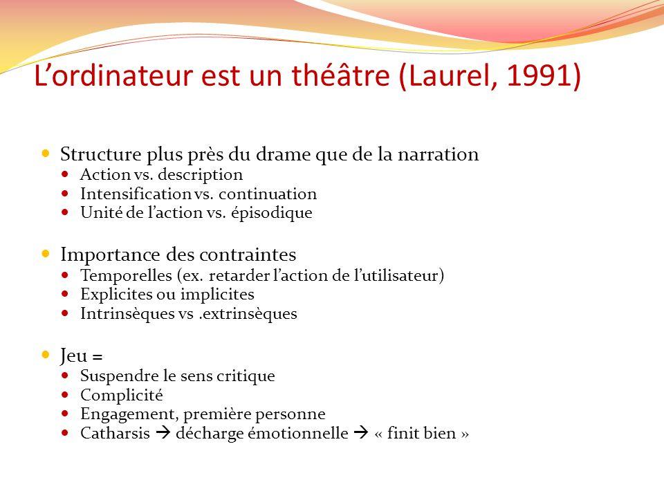 Lordinateur est un théâtre (Laurel, 1991) Structure plus près du drame que de la narration Action vs. description Intensification vs. continuation Uni