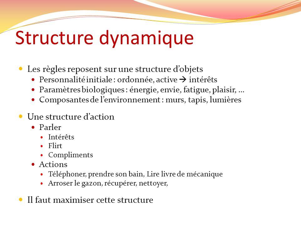 Structure dynamique Les règles reposent sur une structure dobjets Personnalité initiale : ordonnée, active intérêts Paramètres biologiques : énergie,