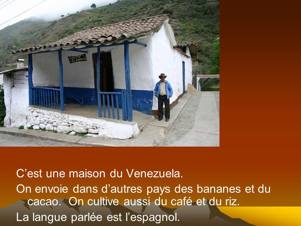 Cest une maison du Venezuela. On envoie dans dautres pays des bananes et du cacao. On cultive aussi du café et du riz. La langue parlée est lespagnol.