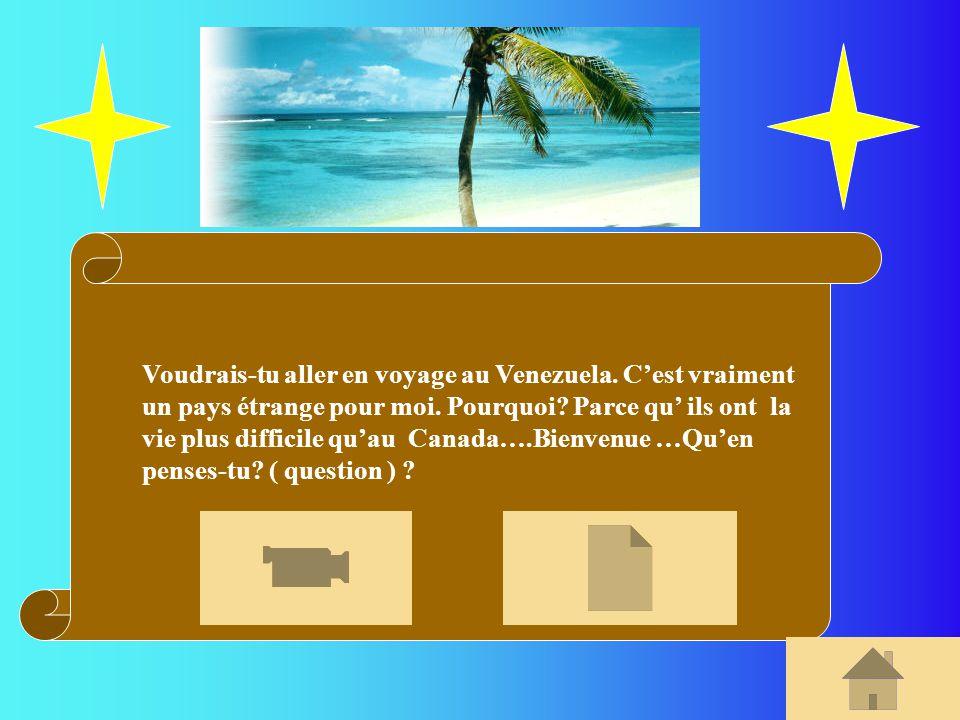 Voudrais-tu aller en voyage au Venezuela. Cest vraiment un pays étrange pour moi. Pourquoi? Parce qu ils ont la vie plus difficile quau Canada….Bienve