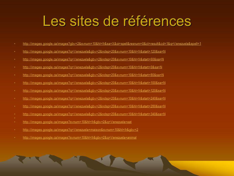 Les sites de références http://images.google.ca/images?gbv=2&svnum=10&hl=fr&sa=X&oi=spell&resnum=0&ct=result&cd=1&q=Venezuela&spell=1 http://images.go