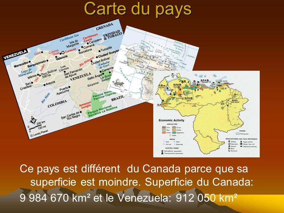 Carte du pays Ce pays est différent du Canada parce que sa superficie est moindre. Superficie du Canada: 9 984 670 km² et le Venezuela: 912 050 km²