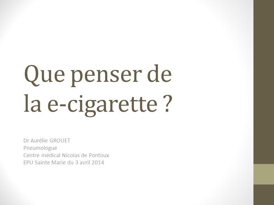 La e-cigarette est un produit qui « explose » Produit fonctionnant à lélectricité, sans combustion, destiné à simuler lacte de fumer du tabac produisant un brouillard de fines particules Inventée en 2004, mise au point après 2010 Explose en 2013 Plus de 20 % des adultes lavaient essayé fin 2013 Permettant de réduire de 8 % les ventes de cigarettes Produit de consommation courante Ne revendique aucun bénéfice sur la santé Teneur en nicotine moins de 20 mg/mL