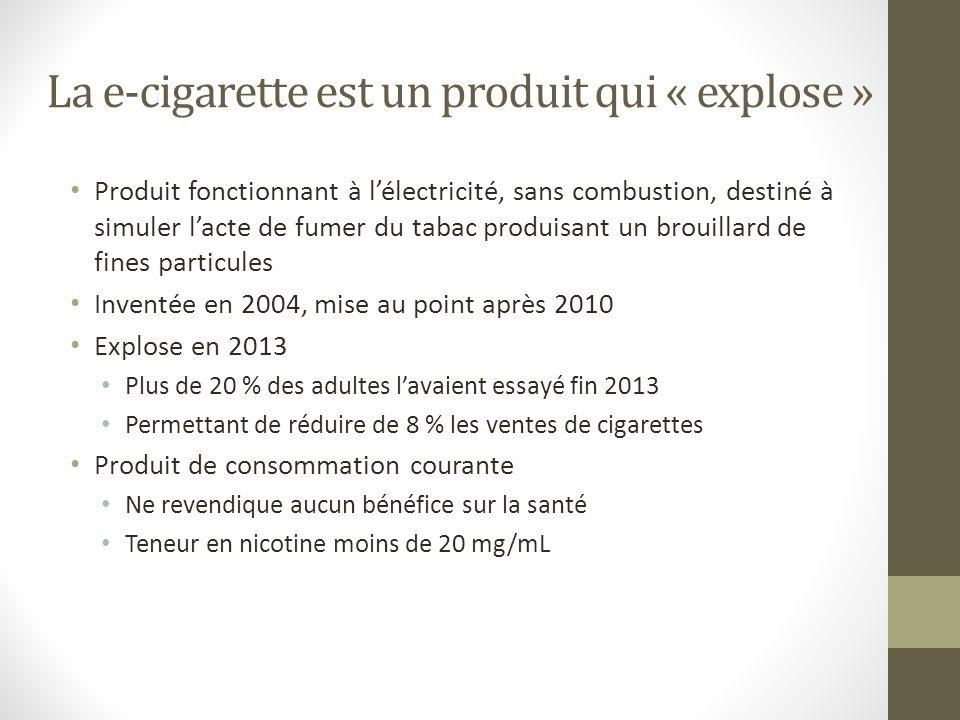 La e-cigarette est un produit qui « explose » Produit fonctionnant à lélectricité, sans combustion, destiné à simuler lacte de fumer du tabac produisa