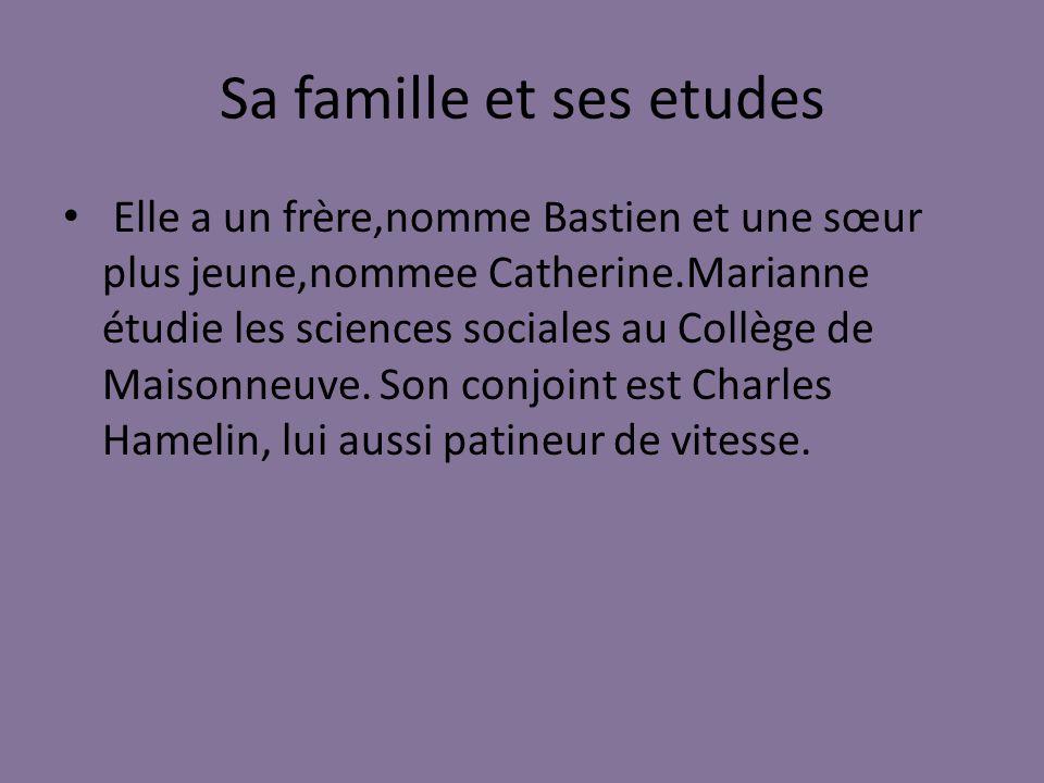 Sa famille et ses etudes Elle a un frère,nomme Bastien et une sœur plus jeune,nommee Catherine.Marianne étudie les sciences sociales au Collège de Maisonneuve.
