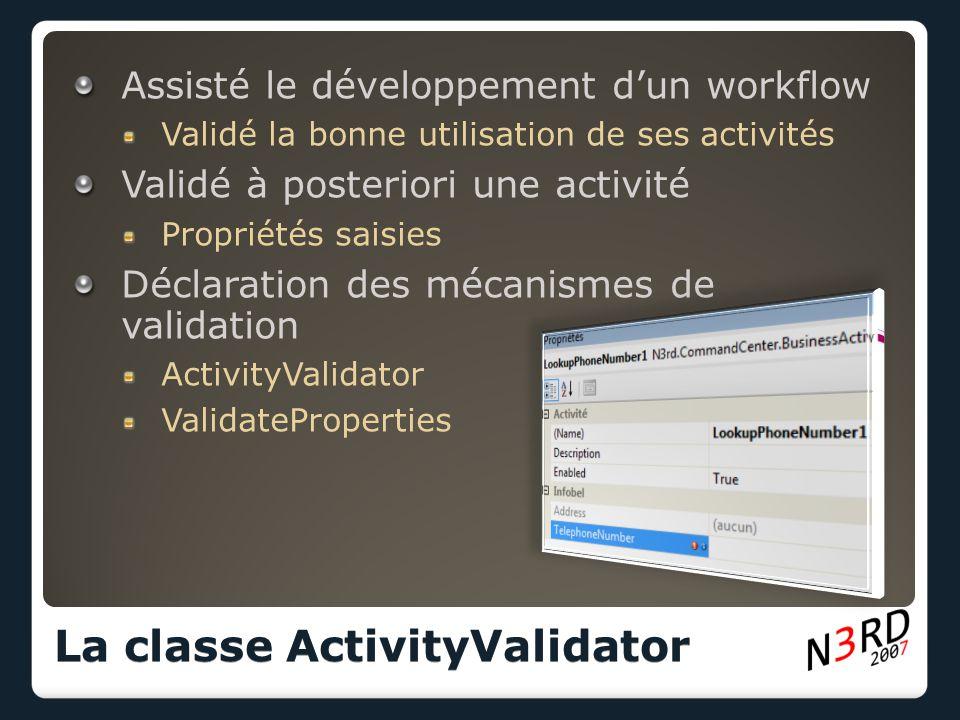 Assisté le développement dun workflow Validé la bonne utilisation de ses activités Validé à posteriori une activité Propriétés saisies Déclaration des mécanismes de validation ActivityValidator ValidateProperties La classe ActivityValidator