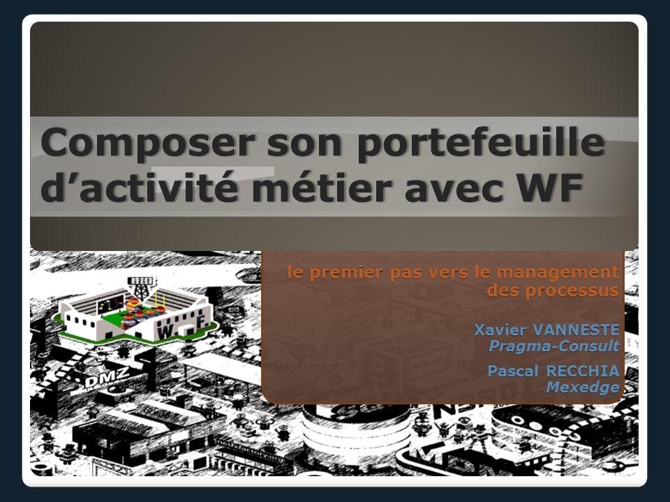 le premier pas vers le management des processus Composer son portefeuille dactivité métier avec WF Xavier VANNESTE Pragma-Consult Pascal RECCHIA Mexedge