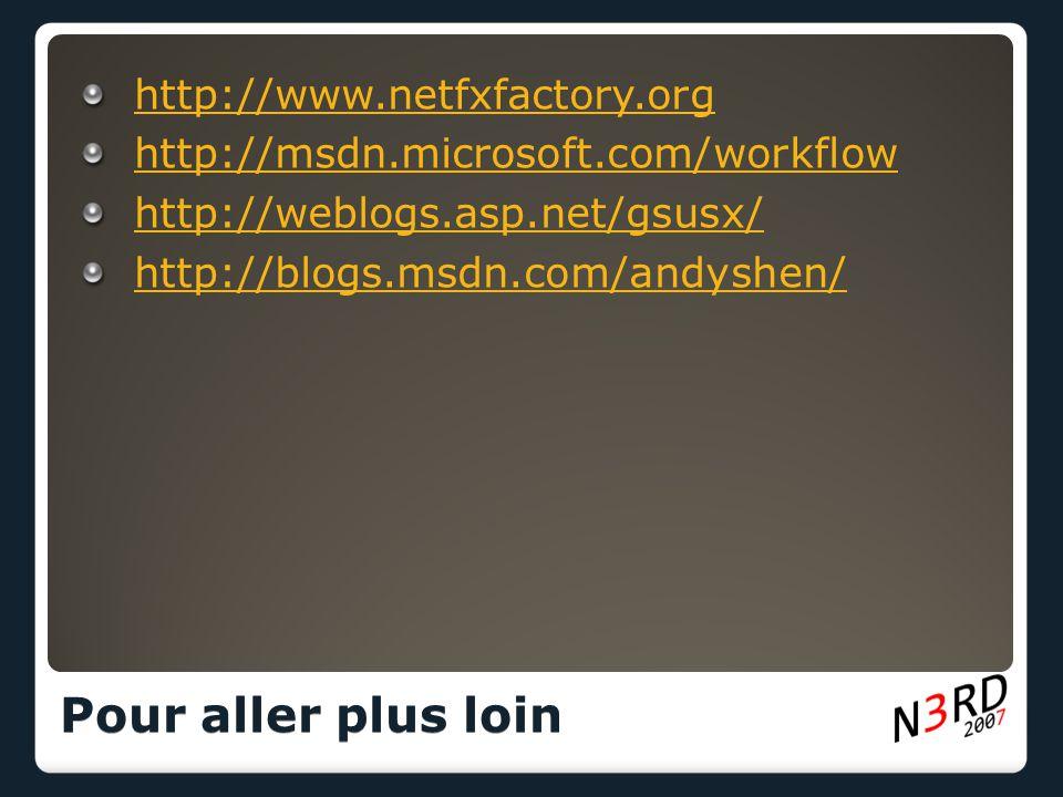 http://www.netfxfactory.org http://msdn.microsoft.com/workflow http://weblogs.asp.net/gsusx/ http://blogs.msdn.com/andyshen/ Pour aller plus loin
