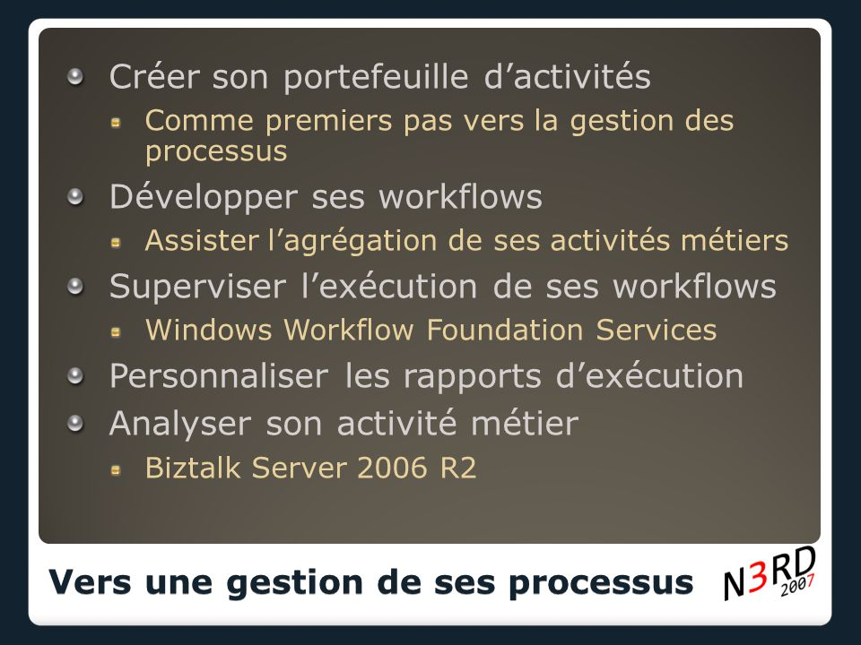 Windows Workflow Foundation Des services natifs essentiellement techniques.