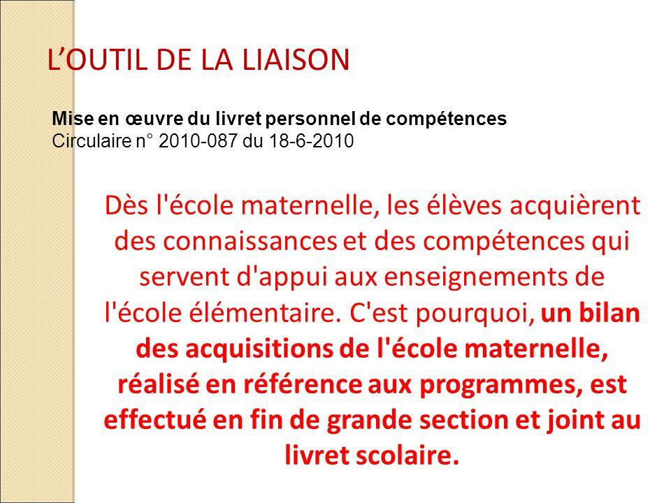Mise en œuvre du livret personnel de compétences Circulaire n° 2010-087 du 18-6-2010 Dès l'école maternelle, les élèves acquièrent des connaissances e