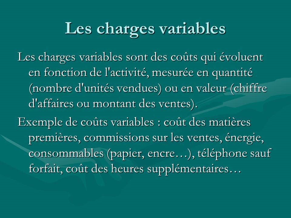 Les charges variables Les charges variables sont des coûts qui évoluent en fonction de l activité, mesurée en quantité (nombre d unités vendues) ou en valeur (chiffre d affaires ou montant des ventes).