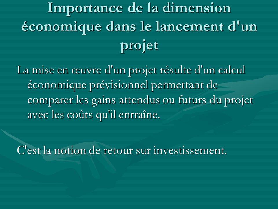 Importance de la dimension économique dans le lancement d un projet La mise en œuvre d un projet résulte d un calcul économique prévisionnel permettant de comparer les gains attendus ou futurs du projet avec les coûts qu il entraîne.