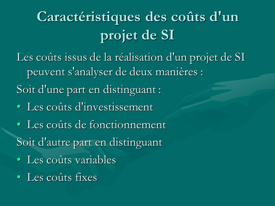 Caractéristiques des coûts d'un projet de SI Les coûts issus de la réalisation d'un projet de SI peuvent s'analyser de deux manières : Soit d'une part