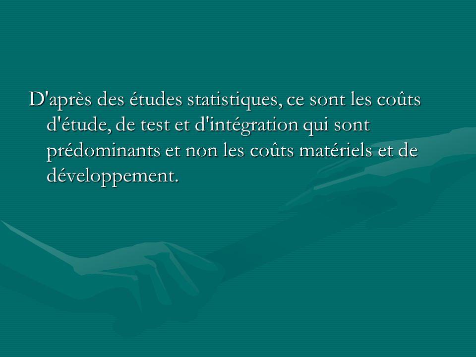 D après des études statistiques, ce sont les coûts d étude, de test et d intégration qui sont prédominants et non les coûts matériels et de développement.