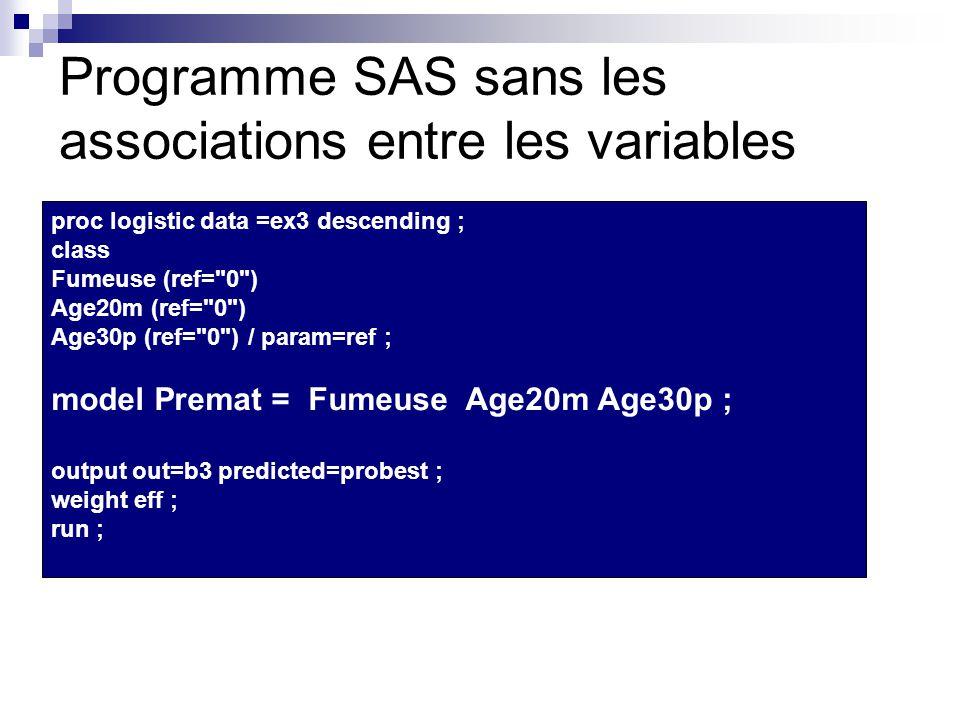 Programme SAS sans les associations entre les variables proc logistic data =ex3 descending ; class Fumeuse (ref= 0 ) Age20m (ref= 0 ) Age30p (ref= 0 ) / param=ref ; model Premat = Fumeuse Age20m Age30p ; output out=b3 predicted=probest ; weight eff ; run ;
