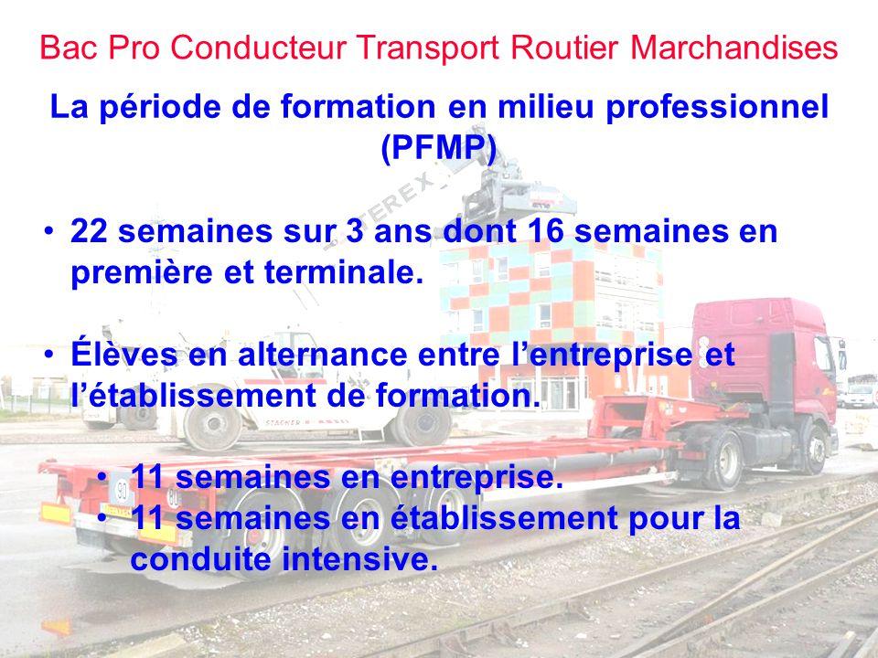Bac Pro Conducteur Transport Routier Marchandises La période de formation en milieu professionnel (PFMP) EN ENTREPRISE Les 8 premières semaines entre la seconde et la première sont consacrées à des activités liées au diplôme de certification intermédiaire.