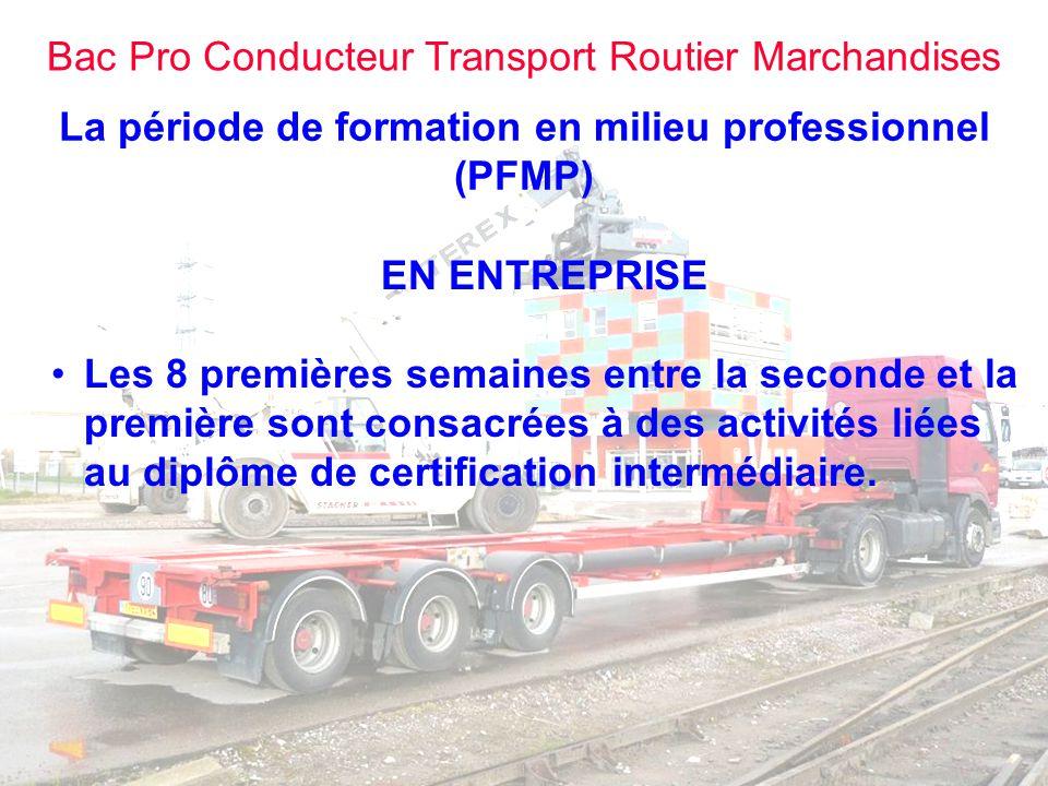 Bac Pro Conducteur Transport Routier Marchandises La période de formation en milieu professionnel (PFMP) AU CENTRE DE FORMATION Organisation de conduite intensive.