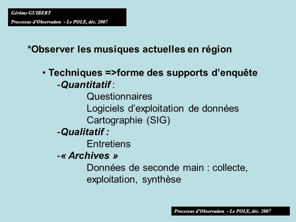 *Observer les musiques actuelles en région Techniques =>forme des supports denquête - Adéquation des outils à dautres observatoires régionaux (ex des SIG, des codes communes) - Adéquation de la collecte de données à dautres basesdobservation (secteur des ma: CNV, Fédurok, Réseau ressource… ex des styles musicaux) (région : culture, TIC, autres, ex des tranches dâge) Gérôme GUIBERT Processus dObservation - Le POLE, déc.