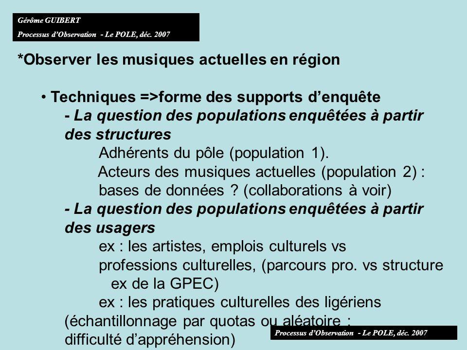 *Observer les musiques actuelles en région Techniques =>forme des supports denquête - La question des populations enquêtées à partir des structures Adhérents du pôle (population 1).