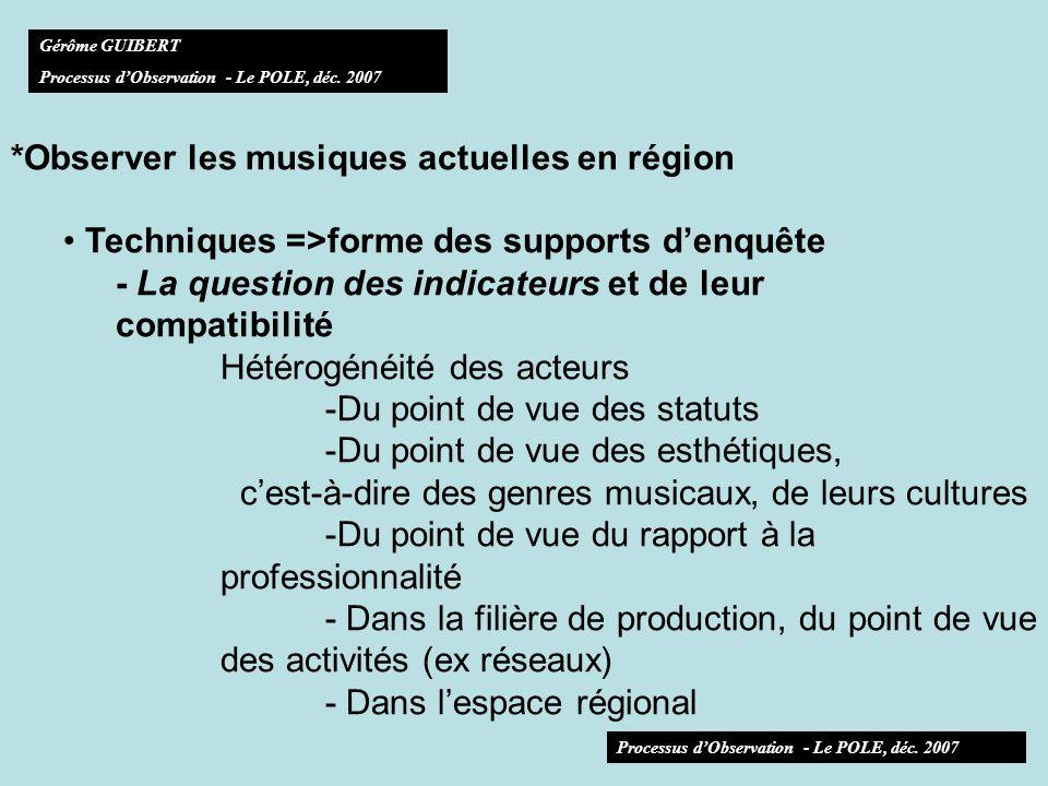 *Observer les musiques actuelles en région Techniques =>forme des supports denquête - La question des indicateurs et de leur compatibilité Hétérogénéité des acteurs -Du point de vue des statuts -Du point de vue des esthétiques, cest-à-dire des genres musicaux, de leurs cultures -Du point de vue du rapport à la professionnalité - Dans la filière de production, du point de vue des activités (ex réseaux) - Dans lespace régional Gérôme GUIBERT Processus dObservation - Le POLE, déc.
