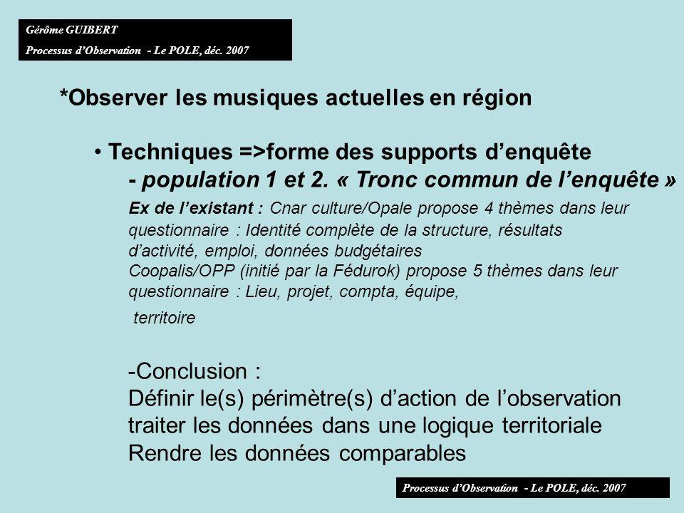 *Observer les musiques actuelles en région Moyens humains => capacité de mise en place, danimation, de suivi, dexploitation, de valorisation Mise en place, coordination Chargé de lobservation.