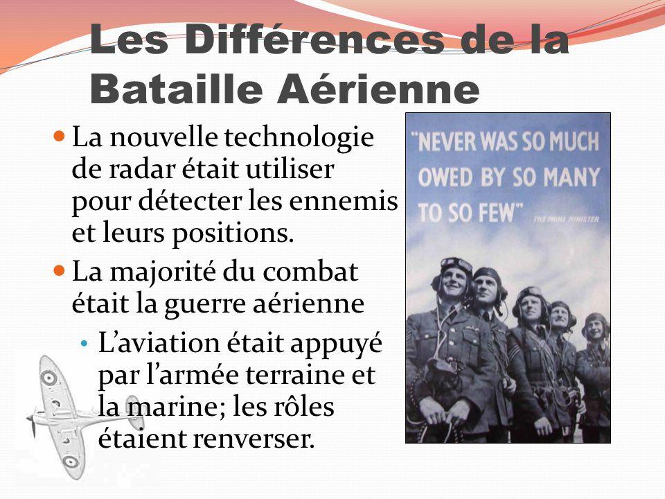 Les Différences de la Bataille Aérienne La nouvelle technologie de radar était utiliser pour détecter les ennemis et leurs positions. La majorité du c