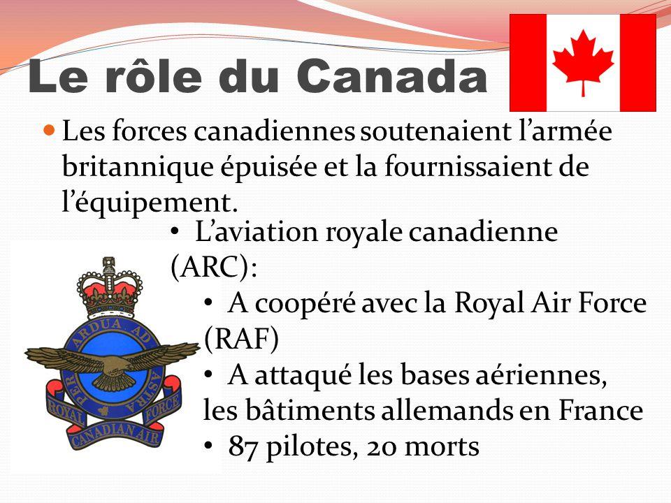 Le rôle du Canada Les forces canadiennes soutenaient larmée britannique épuisée et la fournissaient de léquipement. Laviation royale canadienne (ARC):